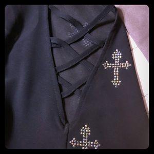 Shirt w/bling crosses